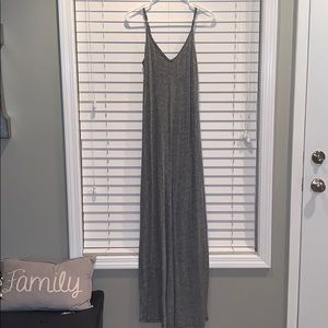 Heathered gray spaghetti strap maxi dress